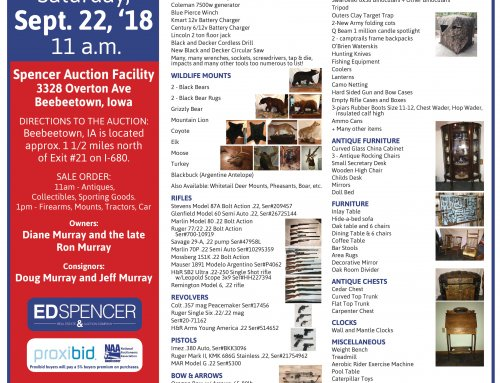 Wildlife Mounts, Sporting Goods, Firearms Auction!